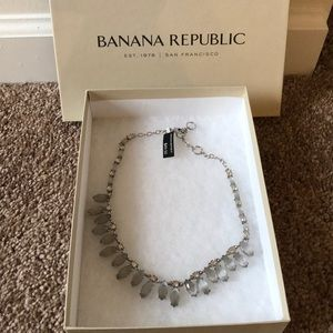 Banana Republic silver necklace with gray stones